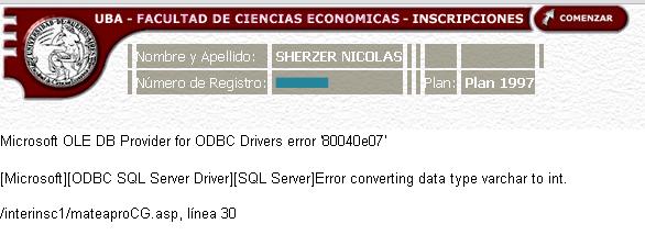 Error en la inscripción online de UBA Económicas