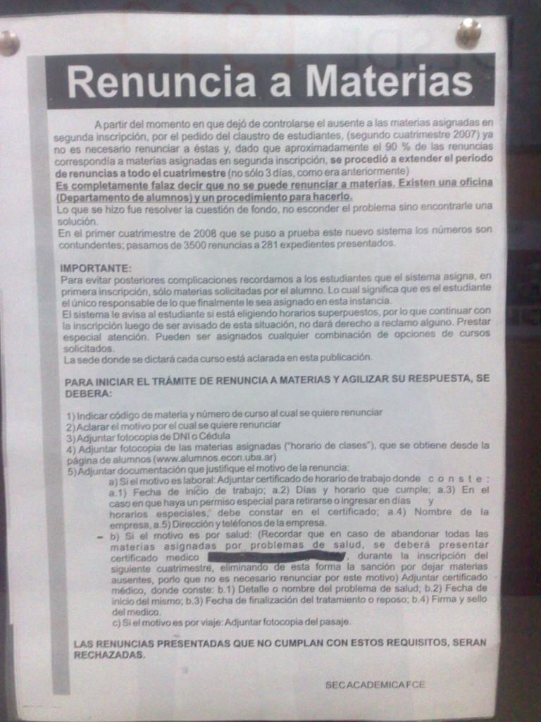 """Información sobre """"Renuncia a Materias"""""""